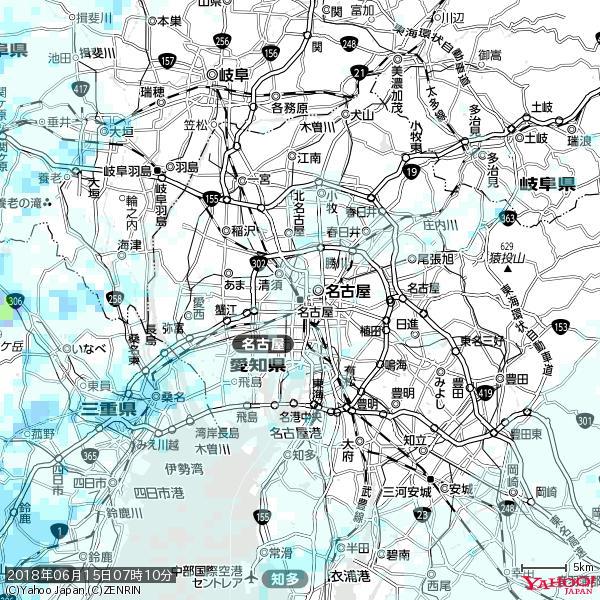 名古屋の天気(雨) 降水強度: 0.85(mm/h)  2018年06月15日 07時10分の雨雲 https://t.co/cYrRU9sV0H #雨雲bot #bot https://t.co/D7gOevLeni