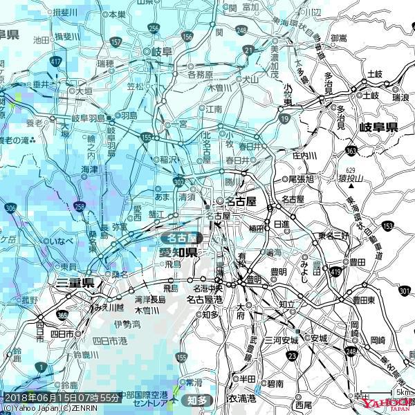 名古屋の天気(雨) 降水強度: 0.75(mm/h)  2018年06月15日 07時55分の雨雲 https://t.co/cYrRU9sV0H #雨雲bot #bot https://t.co/BhsXUEHa3e