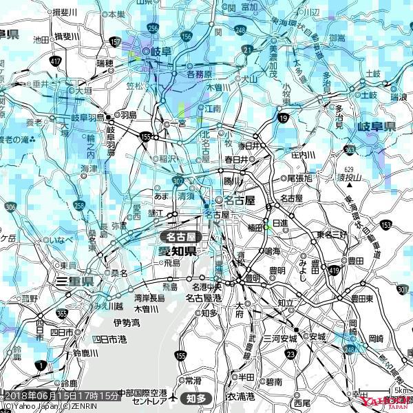 名古屋の天気(雨) 降水強度: 2.13(mm/h)  2018年06月15日 17時15分の雨雲 https://t.co/cYrRU9sV0H #雨雲bot #bot https://t.co/kbslQbBck5