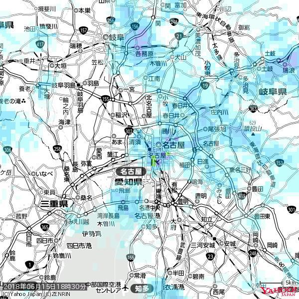 名古屋の天気(雨) 降水強度: 5.75(mm/h)  2018年06月15日 18時30分の雨雲 https://t.co/cYrRU9sV0H #雨雲bot #bot https://t.co/BZ7e9Uc49V