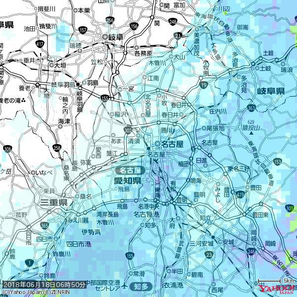 名古屋の天気(雨) 降水強度: 2.38(mm/h)  2018年06月18日 06時50分の雨雲 https://t.co/cYrRU9sV0H #雨雲bot #bot https://t.co/rZqh6nbf4V