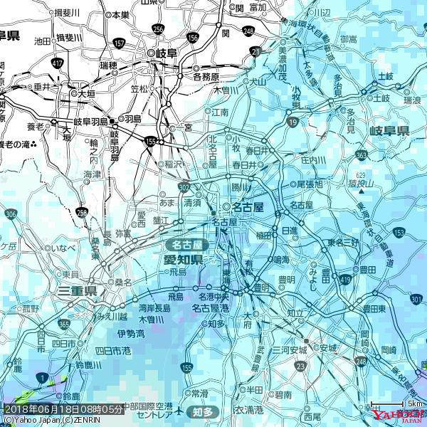 名古屋の天気(雨) 降水強度: 1.95(mm/h)  2018年06月18日 08時05分の雨雲 https://t.co/cYrRU9sV0H #雨雲bot #bot https://t.co/2SO515Njgk