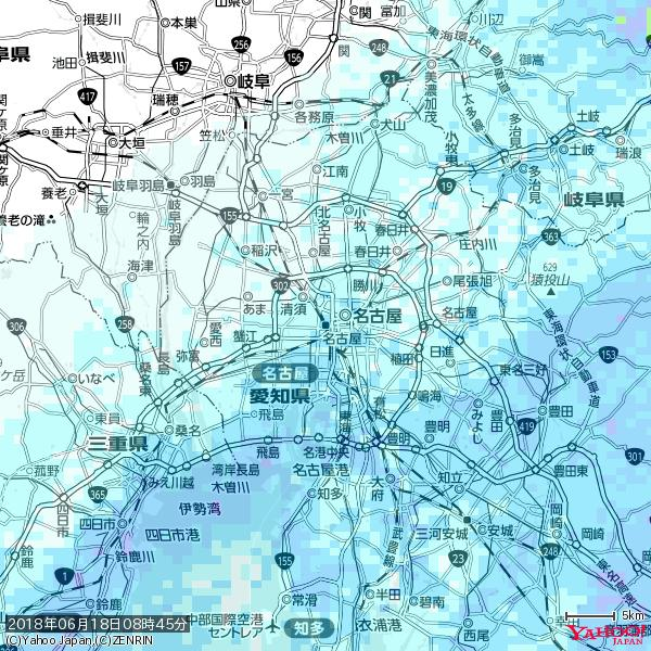 名古屋の天気(雨) 降水強度: 2.13(mm/h)  2018年06月18日 08時45分の雨雲 https://t.co/cYrRU9sV0H #雨雲bot #bot https://t.co/hBCm7BDLzO