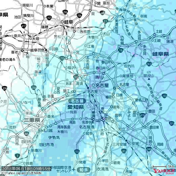 名古屋の天気(雨) 降水強度: 5.75(mm/h)  2018年06月18日 09時55分の雨雲 https://t.co/cYrRU9sV0H #雨雲bot #bot https://t.co/7wpKVOeKle