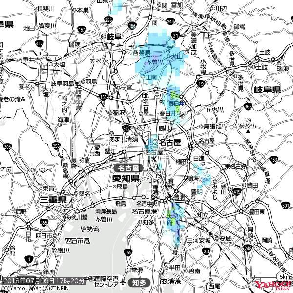 名古屋の天気(雨) 降水強度: 1.15(mm/h)  2018年07月09日 17時20分の雨雲 https://t.co/cYrRU9sV0H #雨雲bot #bot https://t.co/qqTGsHbDE0