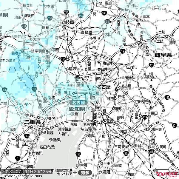 名古屋の天気(雨) 降水強度: 1.25(mm/h)  2018年07月11日 20時25分の雨雲 https://t.co/cYrRU9sV0H #雨雲bot #bot https://t.co/ZIBVrT7ZWu