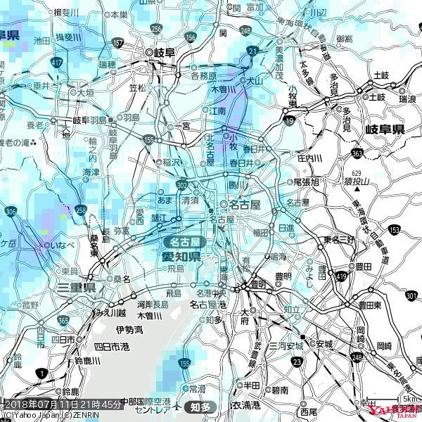 名古屋の天気(雨) 降水強度: 1.05(mm/h)  2018年07月11日 21時45分の雨雲 https://t.co/cYrRU9sV0H #雨雲bot #bot https://t.co/vqjQV34pIN