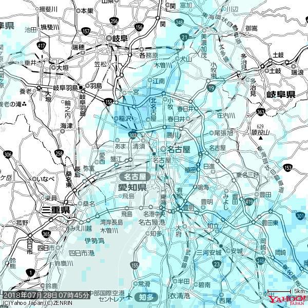 名古屋の天気(雨) 降水強度: 1.25(mm/h)  2018年07月28日 07時45分の雨雲 https://t.co/cYrRU9sV0H #雨雲bot #bot https://t.co/DDPF5VHicj