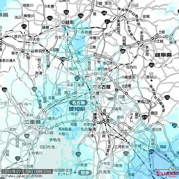 名古屋の天気(雨) 降水強度: 1.25(mm/h)  2018年07月28日 08時20分の雨雲 https://t.co/cYrRU9sV0H #雨雲bot #bot https://t.co/Ya0RJI5mDC