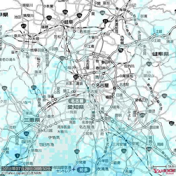 名古屋の天気(雨) 降水強度: 1.25(mm/h)  2018年07月28日 08時50分の雨雲 https://t.co/cYrRU9sV0H #雨雲bot #bot https://t.co/wgov86DUDQ