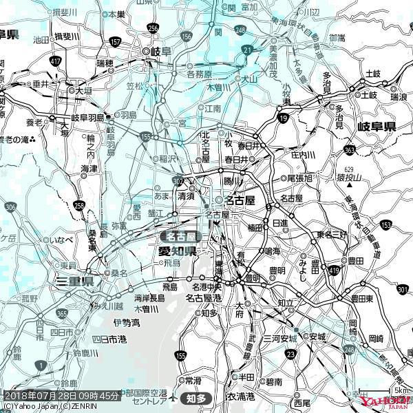 名古屋の天気(雨) 降水強度: 0.35(mm/h)  2018年07月28日 09時45分の雨雲 https://t.co/cYrRU9sV0H #雨雲bot #bot https://t.co/MD7mqq69EM