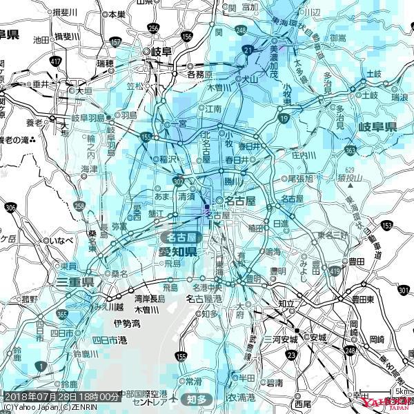 名古屋の天気(雨) 降水強度: 8.25(mm/h)  2018年07月28日 18時00分の雨雲 https://t.co/cYrRU9sV0H #雨雲bot #bot https://t.co/AtVfZSDGdS