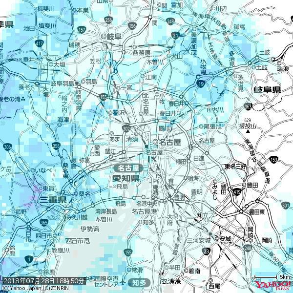 名古屋の天気(雨) 降水強度: 1.25(mm/h)  2018年07月28日 18時50分の雨雲 https://t.co/cYrRU9sV0H #雨雲bot #bot https://t.co/MOZbA8rNpn