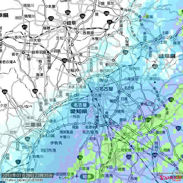 名古屋の天気(雨) 降水強度: 5.25(mm/h)  2018年07月28日 23時35分の雨雲 https://t.co/cYrRU9sV0H #雨雲bot #bot https://t.co/Nx6PblNzUh