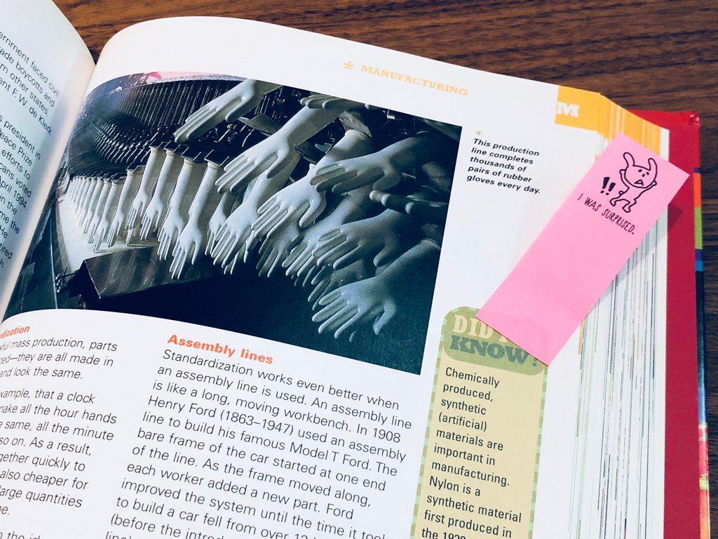 """手がいっぱい Σ(゚Д゚)  """"This production line completes thousands of pairs of rubber gloves every day""""  from Scholastic Children's Encyclopedia https://t.co/lb4mEvT2WN"""