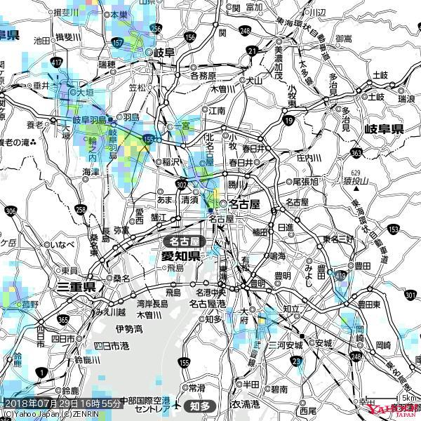 名古屋の天気(雨) 降水強度: 8.75(mm/h)  2018年07月29日 16時55分の雨雲 https://t.co/cYrRU9sV0H #雨雲bot #bot https://t.co/AKgYRKV411