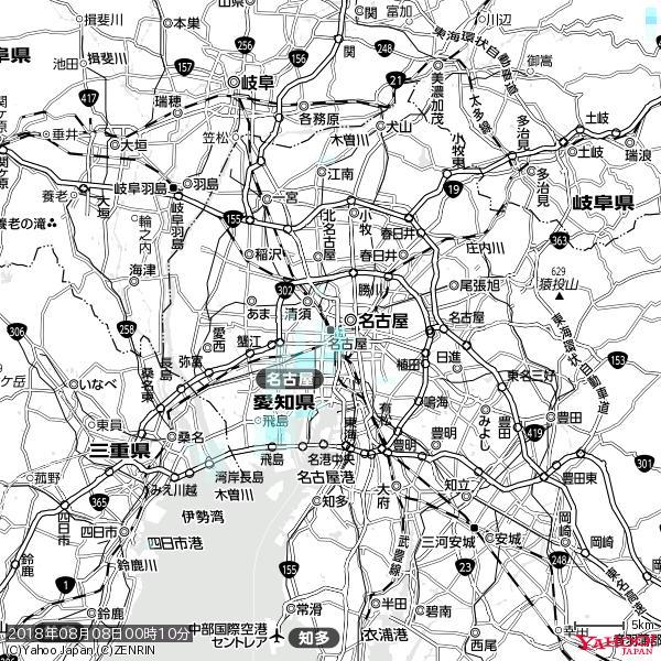 名古屋の天気(雨) 降水強度: 0.85(mm/h)  2018年08月08日 00時10分の雨雲 https://t.co/cYrRU9sV0H #雨雲bot #bot https://t.co/Mr8VRZDj9s