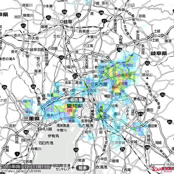 名古屋の天気(雨): やや強い雨 降水強度: 15.50(mm/h)  2018年08月12日 11時15分の雨雲 https://t.co/cYrRU9sV0H #雨雲bot #bot https://t.co/GjW3R7QjyQ