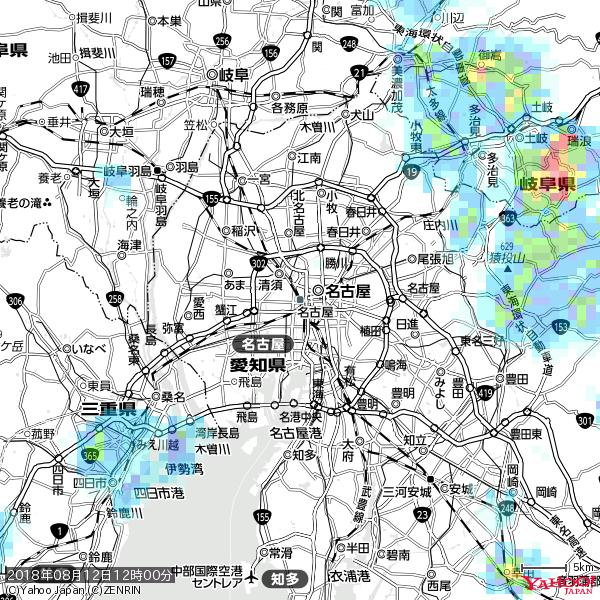 名古屋の天気(雨) 降水強度: 0.45(mm/h)  2018年08月12日 12時00分の雨雲 https://t.co/cYrRU9sV0H #雨雲bot #bot https://t.co/Knh8QC6RgA