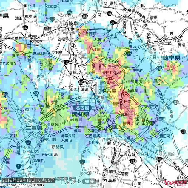 名古屋の天気(雨) 降水強度: 6.75(mm/h)  2018年08月12日 16時05分の雨雲 https://t.co/cYrRU9sV0H #雨雲bot #bot https://t.co/JMf1YTsla3