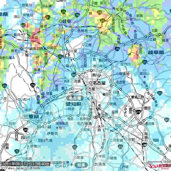 名古屋の天気(雨) 降水強度: 1.55(mm/h)  2018年08月12日 17時40分の雨雲 https://t.co/cYrRU9sV0H #雨雲bot #bot https://t.co/hydaLAgcAY