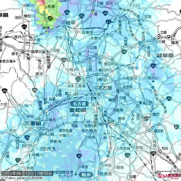 名古屋の天気(雨) 降水強度: 3.88(mm/h)  2018年08月12日 17時55分の雨雲 https://t.co/cYrRU9sV0H #雨雲bot #bot https://t.co/E47RL0b1ni