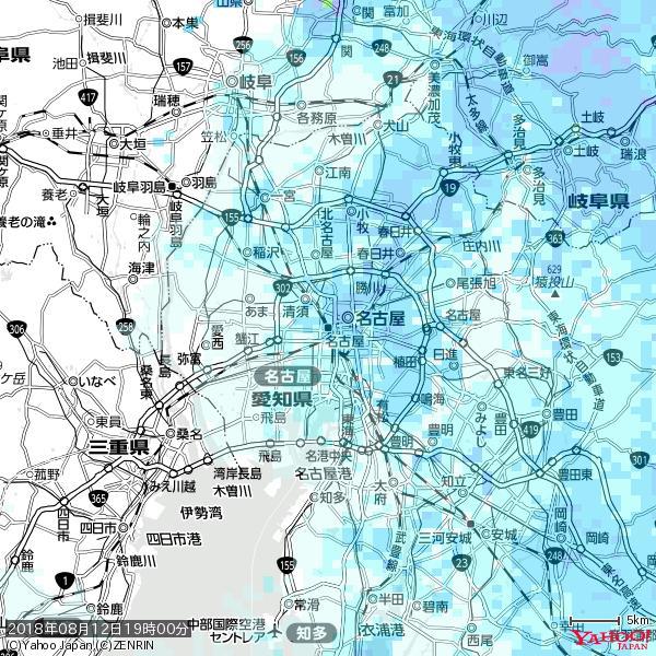 名古屋の天気(雨) 降水強度: 3.63(mm/h)  2018年08月12日 19時00分の雨雲 https://t.co/cYrRU9sV0H #雨雲bot #bot https://t.co/JowPY2X1w3
