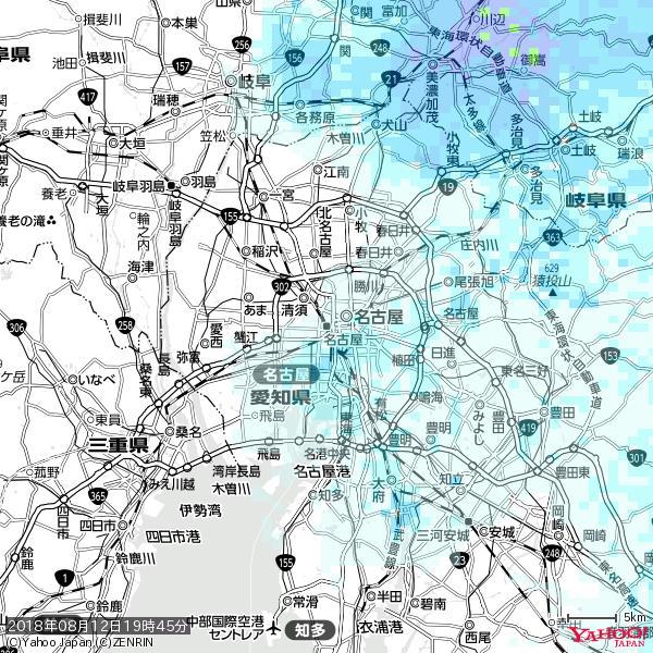 名古屋の天気(雨) 降水強度: 0.95(mm/h)  2018年08月12日 19時45分の雨雲 https://t.co/cYrRU9sV0H #雨雲bot #bot https://t.co/iuC2R4r3B5