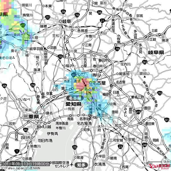 名古屋の天気(雨): 猛烈な雨 降水強度: 95.50(mm/h)  2018年08月13日 19時00分の雨雲 https://t.co/cYrRU9sV0H #豪雨bot #雨雲bot #bot https://t.co/v08juehP9w