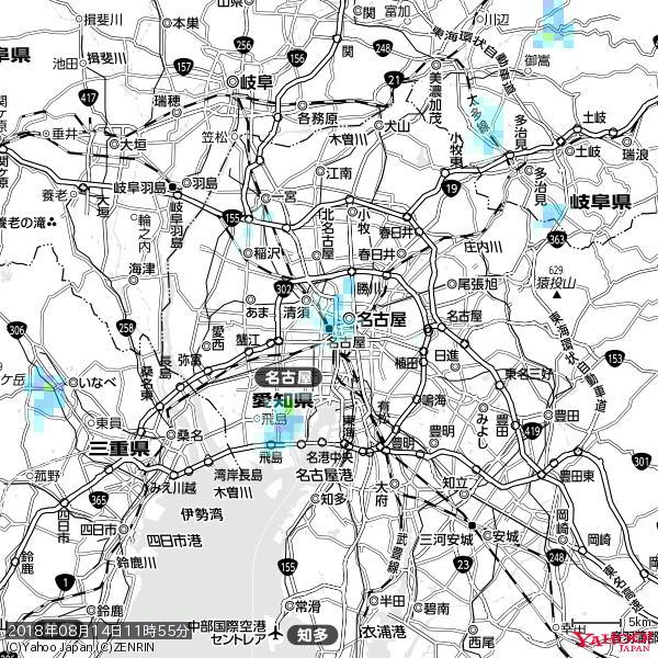 名古屋の天気(雨) 降水強度: 2.13(mm/h)  2018年08月14日 11時55分の雨雲 https://t.co/cYrRU9sV0H #雨雲bot #bot https://t.co/Y2eIJkC3y1