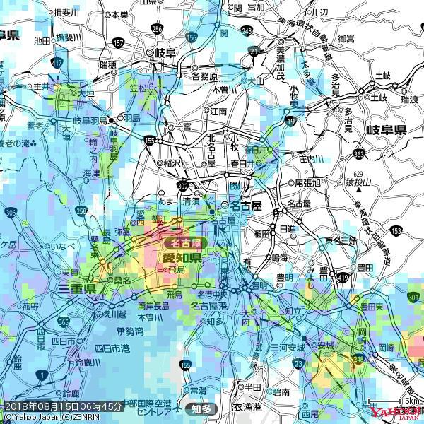 名古屋の天気(雨) 降水強度: 5.75(mm/h)  2018年08月15日 06時45分の雨雲 https://t.co/cYrRU9sV0H #雨雲bot #bot https://t.co/FVvf9VhFte