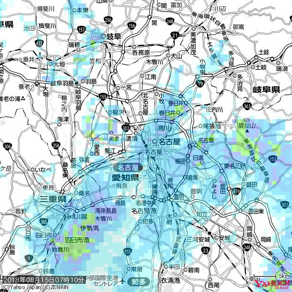 名古屋の天気(雨) 降水強度: 3.63(mm/h)  2018年08月15日 07時10分の雨雲 https://t.co/cYrRU9sV0H #雨雲bot #bot https://t.co/dN6rRueVow