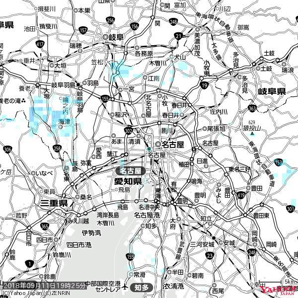 名古屋の天気(雨) 降水強度: 1.05(mm/h)  2018年09月11日 19時25分の雨雲 https://t.co/cYrRU9sV0H #雨雲bot #bot https://t.co/vYIpB52eR6