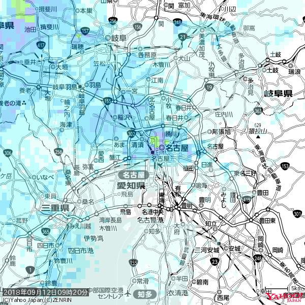 名古屋の天気(雨): やや強い雨 降水強度: 11.50(mm/h)  2018年09月12日 09時20分の雨雲 https://t.co/cYrRU9sV0H #雨雲bot #bot https://t.co/27CZScNcJ7