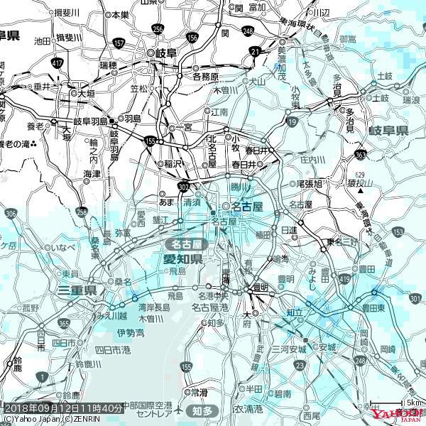 名古屋の天気(雨) 降水強度: 1.65(mm/h)  2018年09月12日 11時40分の雨雲 https://t.co/cYrRU9sV0H #雨雲bot #bot https://t.co/QxaMAsLP9H