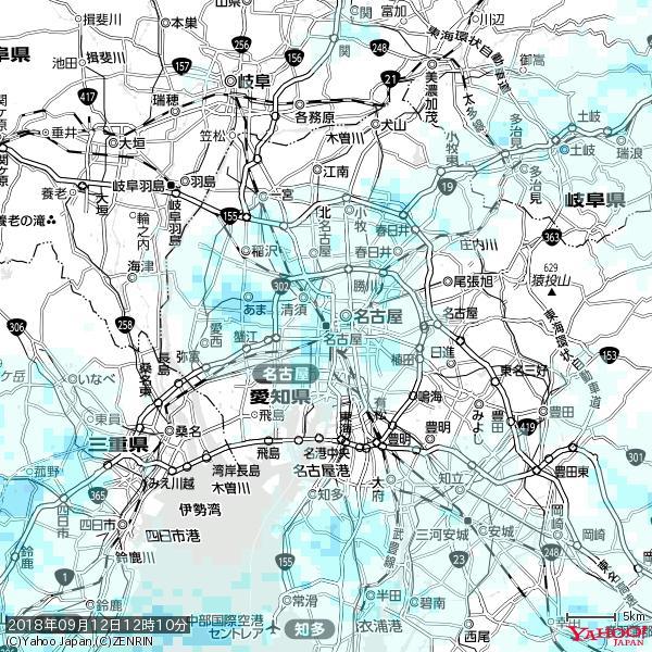 名古屋の天気(雨) 降水強度: 1.55(mm/h)  2018年09月12日 12時10分の雨雲 https://t.co/cYrRU9sV0H #雨雲bot #bot https://t.co/6WunftGnMM