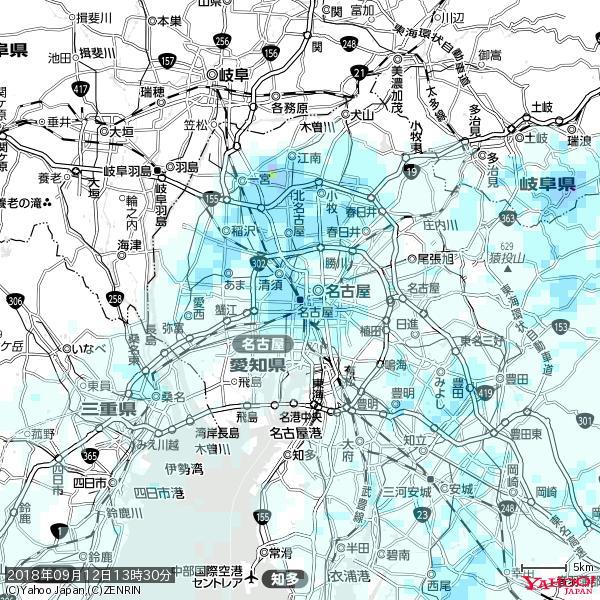 名古屋の天気(雨) 降水強度: 4.38(mm/h)  2018年09月12日 13時30分の雨雲 https://t.co/cYrRU9bk99 #雨雲bot #bot https://t.co/C0jBdeKmOb