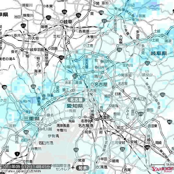 名古屋の天気(雨) 降水強度: 1.95(mm/h)  2018年09月12日 14時45分の雨雲 https://t.co/cYrRU9bk99 #雨雲bot #bot https://t.co/ahiv9R8sub
