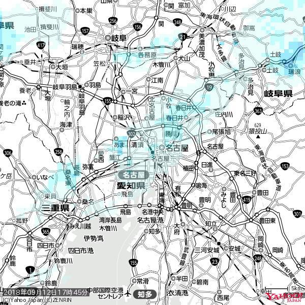 名古屋の天気(雨) 降水強度: 1.25(mm/h)  2018年09月12日 17時45分の雨雲 https://t.co/cYrRU9sV0H #雨雲bot #bot https://t.co/puAaPsH1v7