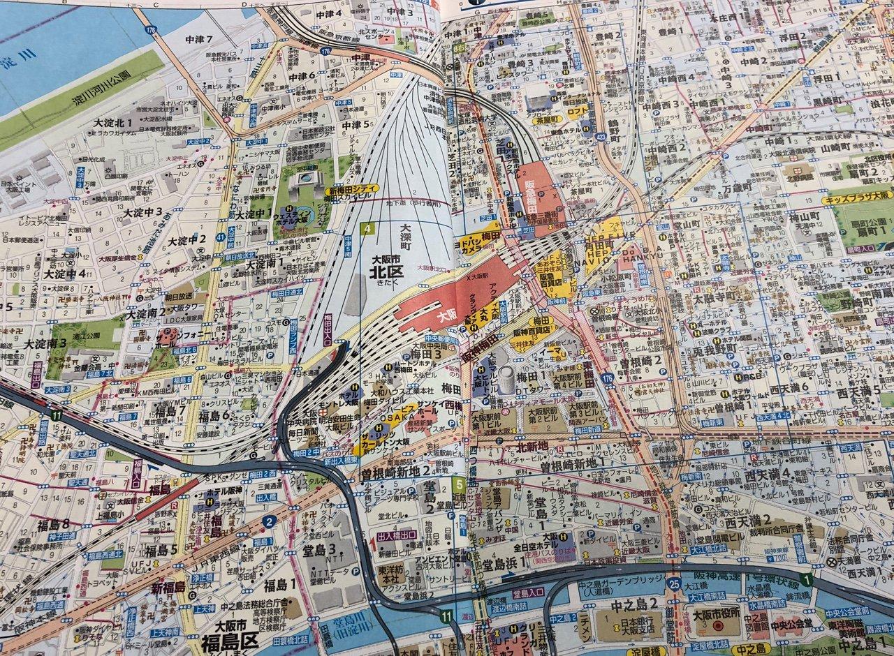 阪急梅田。JR大阪駅。HEP FIVE。  アトラスRDX 関西道路地図 B5 (2004年3月発行) https://t.co/XPrGh70dJ7