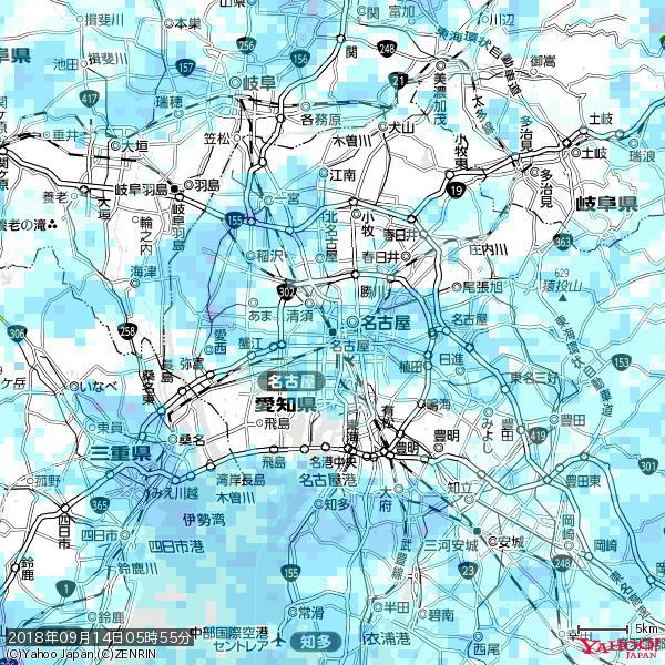 名古屋の天気(雨) 降水強度: 2.63(mm/h)  2018年09月14日 05時55分の雨雲 https://t.co/cYrRU9sV0H #雨雲bot #bot https://t.co/l3DhGXShEZ