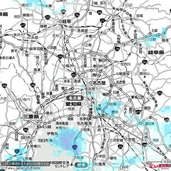 名古屋の天気(雨) 降水強度: 0.85(mm/h)  2018年09月14日 06時55分の雨雲 https://t.co/cYrRU9sV0H #雨雲bot #bot https://t.co/CpGQSV89Kx