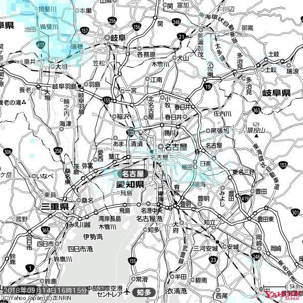 名古屋の天気(雨) 降水強度: 1.25(mm/h)  2018年09月14日 16時15分の雨雲 https://t.co/cYrRU9sV0H #雨雲bot #bot https://t.co/eLE9A2p4Uc