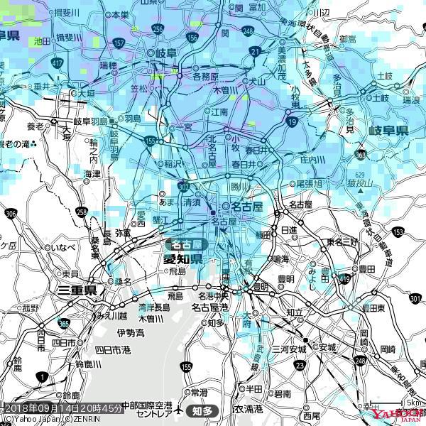 名古屋の天気(雨) 降水強度: 8.25(mm/h)  2018年09月14日 20時45分の雨雲 https://t.co/cYrRU9sV0H #雨雲bot #bot https://t.co/JcEzgb567x