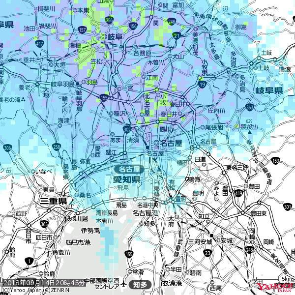 名古屋の天気(雨) 降水強度: 6.25(mm/h)  2018年09月14日 20時45分の雨雲 https://t.co/cYrRU9sV0H #雨雲bot #bot https://t.co/wdYwWJKk8q