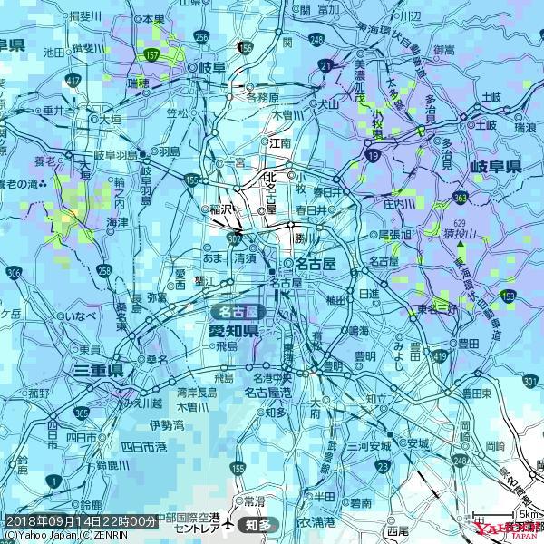 名古屋の天気(雨) 降水強度: 4.63(mm/h)  2018年09月14日 22時00分の雨雲 https://t.co/cYrRU9sV0H #雨雲bot #bot https://t.co/wAYPMkTuuo