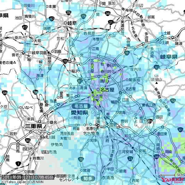 名古屋の天気(雨): やや強い雨 降水強度: 18.50(mm/h)  2018年09月21日 07時45分の雨雲 https://t.co/cYrRU9sV0H #雨雲bot #bot https://t.co/JpgSwudXhZ