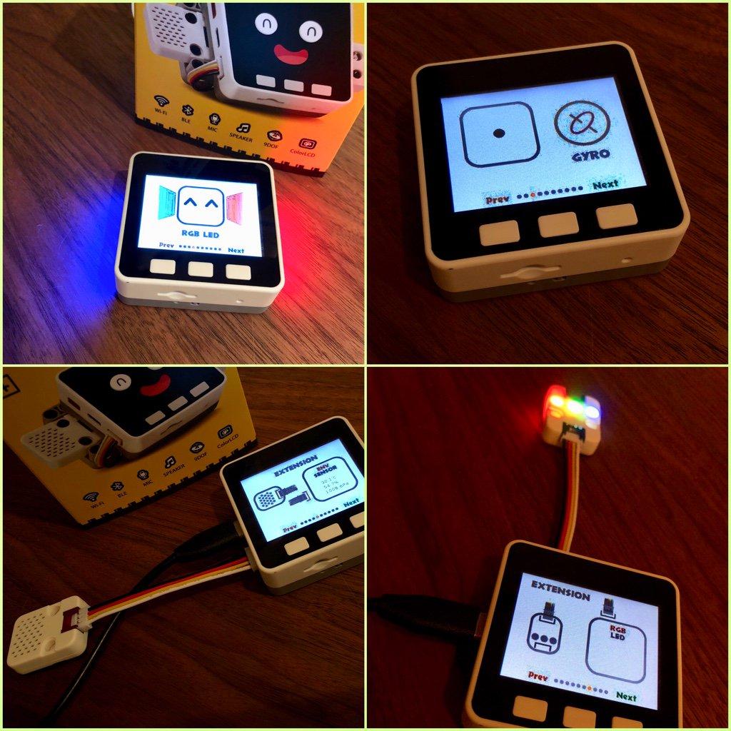 M5GO とセンサーなどの動作確認。内臓カラーLED、傾きがわかるジャイロセンサー、温度計・湿度計・気圧計、外部接続の RGB LED。 https://t.co/IqTJAAo60Z