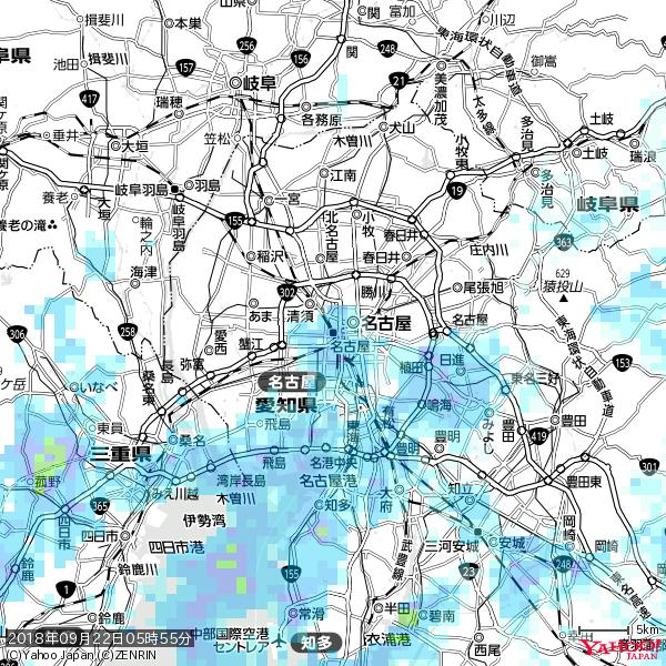 名古屋の天気(雨) 降水強度: 5.25(mm/h)  2018年09月22日 05時55分の雨雲 https://t.co/cYrRU9sV0H #雨雲bot #bot https://t.co/rIJo0l4gtR
