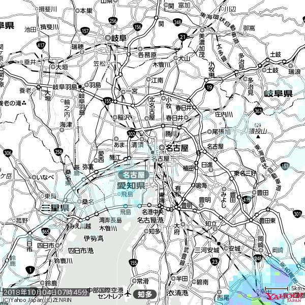 名古屋の天気(雨) 降水強度: 0.95(mm/h)  2018年10月04日 07時45分の雨雲 https://t.co/cYrRU9sV0H #雨雲bot #bot https://t.co/BO9cStsjwJ